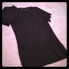 Black shirt with sheer top & detail on sleeves Size small. Dress it up or wear it casual H&M Tops