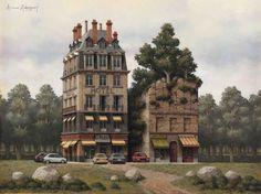 Arnau Alemany, Hotel y roca, 2013 Óleo sobre madera Formato de imagen: 60 x 80 cm