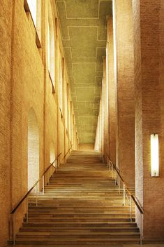 View up the staircase inside the Alte Pinakothek in Munich by architect Leo von Klenze.