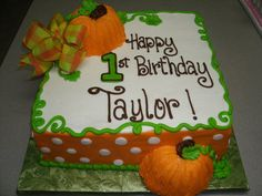 Fall birthday cake for aunt peggy Harvest Birthday Party, Pumpkin Birthday Cakes, Fall First Birthday, Fall 1st Birthdays, Pumpkin Patch Birthday, Halloween Birthday Cakes, Pumpkin 1st Birthdays, Birthday Sheet Cakes, Fall Birthday Parties