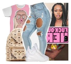 """— turn to a savage , pockets got fatter she call me daddy . "" by ayooshaanti ❤ liked on Polyvore featuring MCM and Puma"