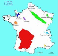 La carte de nos D.O.M et T.O.M à l'échelle réel .... Un peu de géographie pour les nuls.....