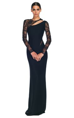 Versace Evening Gowns | Asymmetrical Cut Out Evening Gown by Versace for Preorder on Moda ..