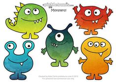 Download these cute monster printable puppets, and notecards!