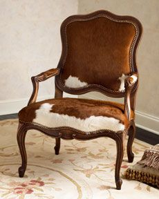 Old Hickory Tannery Brindle Hide Armchair Cowhide Decor, Cowhide Furniture, Cowhide Chair, Western Furniture, Unique Furniture, Painted Chairs, Painted Furniture, Old Hickory Tannery, Chair Redo