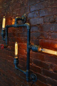 applique murale usine steampunk industriel factory tuyauteries industrielles en tuyau de fonte. Black Bedroom Furniture Sets. Home Design Ideas