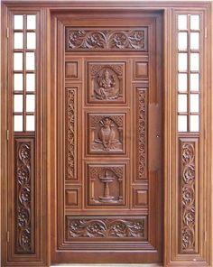 Bilderesultat for indiske teak tredører Design Designer Front House Front Wall Design, Front Door Design Wood, Home Door Design, Main Entrance Door Design, Pooja Room Door Design, Door Design Interior, Wooden Door Design, Interior Doors, House Wall