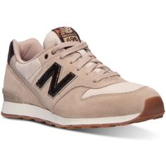 New Balance Women's 696 Capsule Casual Sneakers from Finish Line ($50) ❤ liked on Polyvore featuring shoes, sneakers, sandstone, low shoes, new balance shoes, low sneakers, vintage style shoes and new balance