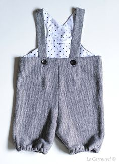 Image of Combi bloomer GENTIANE -  Laine grise doublée coton