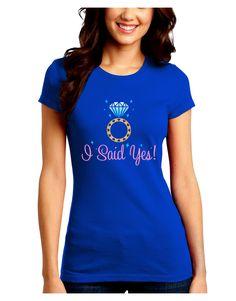 TooLoud I Said Yes - Diamond Ring - Color Juniors Crew Dark T-Shirt
