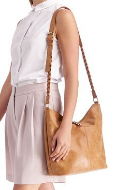 Medium cognac bucket bag with braided shoulder straps