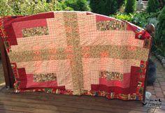 Log cabin quilt. Throw quilt