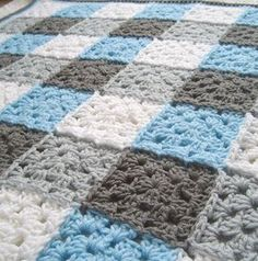 Gray and Blue Gingham Granny Square. What a neat idea to do a gingham granny square blanket Granny Square Blanket, Granny Square Crochet Pattern, Crochet Squares, Crochet Blanket Patterns, Baby Blanket Crochet, Crochet Baby, Knitting Patterns, Knit Crochet, Crochet Blankets
