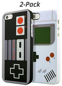 Nintendo iPhone 5 Case 2Pack by Rocketcases  Nintendo and Game Boy cases included  iPhone SE  iPhone 55S Compatible  Slim Fit  Lightweight  Hard Shell  Retro Gamer Case  Retail Box Packaging ** Read more reviews of the product by visiting the link on the image.