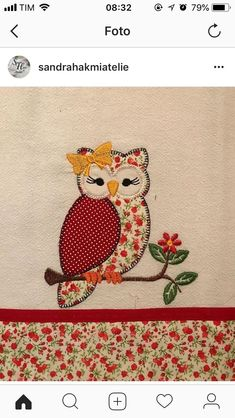 Sewing Embroidery Designs At Home Is Real Fun. Owl Applique, Applique Patterns, Applique Designs, Quilt Patterns, Embroidery Designs, Sewing Patterns, Owl Quilts, Cute Quilts, Patch Quilt
