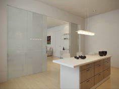cloison coulissante en verre dépoli entre la cuisine et le salon