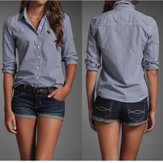 Denim button up with dark jean shorts. I think this style is very cute