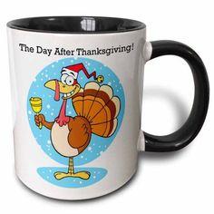 3dRose Thankful Turkey , Two Tone Black Mug, 11oz