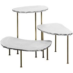Modern Fossils, Brass and Resin Tables Ensemble by Morghen - Galerie Philia Small Tables, Side Tables, Light And Space, Resin Table, Polished Brass, Table Furniture, Fossils, Contemporary Design, Studio