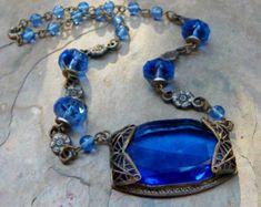 Vintage 20 30 Gatsby Blue Czech Necklace, Brilliant Bohemian Fashion