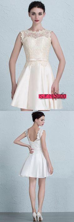 Pink Short Halter Lace Tulle Prom Dress #YH0113 $122 - GemGrace.com ...
