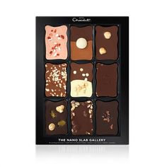 The Nano Slab Gallery - The Classic Nano Slab Gallery contains an exciting exhibition of work from our 'Munch Period', created in our chosen medium: chocolate.  Enjoy 9 classic Nano Slabs in all our grades, from Dark Fruit and Nut to White Cookie Crème.
