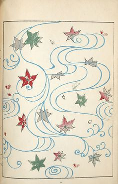 A little Autumnal mono no awarefor your Wednesday in the form of a pattern of swirling maple leaves fromShin-bijutsukai.(1901-1902)