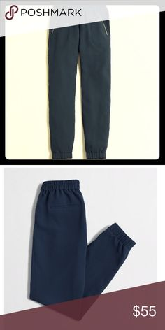 """J Crew Factory Sydney Pull-On Pant . Size 00 Worn once. Excellent condition. Polyester. Sits below waist. Relaxed through hip and thigh, with a tapered leg. 27"""" inseam. Elastic waist. Zip pockets, back welt pockets. Dry clean. Import. J. Crew Factory Pants"""