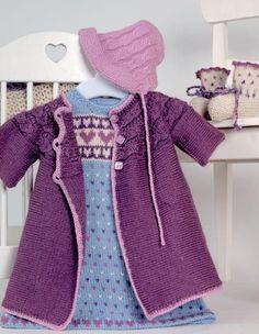 Hjertebarn - Kjole, jakke, lue og sokker Tatting, Knit Crochet, Kids Fashion, Pregnancy, Vest, Sweaters, Cardigans, Barn, Children