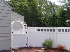 Unique Privacy Fence Ideas | fencing arbor and decorative top 6 foot white vinyl privacy fence ...