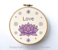 This listing is for an instant download for a very easy counted cross stitch pattern of a pretty lotus flower and the word Love. Makes a great handmade yogi gift. It is designed on 14 ct. aida fabric for a 6 frame or 84 x 84 stitches. (If you would like to use a different fabric count, see tip below). Your pattern will include suggested floss colors and will be in represented in symbols. Regular full cross stitches only. IF YOU PREFER A PAPER PATTERN, PLEASE CLICK ON THIS LINK…