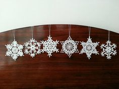 Six Crochet Snowflake Christmas Decoration White Ornaments Wall Hanging Modern Wall Art  Baby Mobile Parts Home Decorations