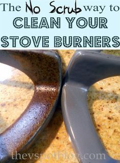 The V Spot: To clean built up oil and grease on stove burners simply put burner in a bag with a cup ammonia and let it soak overnight. Make sure bag is completely sealed because it is the fumes from the ammonia that break down all the built up grease. House Cleaning Tips, Diy Cleaning Products, Cleaning Solutions, Spring Cleaning, Cleaning Hacks, Kitchen Cleaning, Hacks Diy, Cleaning Recipes, Move In Cleaning