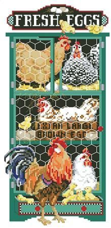 Ruffled Feather's: A Cross Stitch Chart by Kooler Design Studio Rooster Cross Stitch, Chicken Cross Stitch, Cross Stitch Needles, Cross Stitch Patterns, Chicken Crafts, Chicken Art, Ruffled Feathers, Rooster Art, Feather Stitch