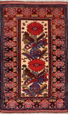 "Beige Oriental Tribal Herati Rug 2' 9"" x 4' 7"" (ft) - No. 11684  http://alrug.com/beige-oriental-tribal-herati-rug-2-9-x-4-7-ft-no-11684.html"