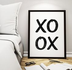 "Home Decor ""XOXO"" Printable Poster – Wall Decor Digital Art Inspirational Print, XO Love Quote Print *Instant Download*"