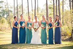 blue and green lineup of dresses by http://www.amsale.com/  Photography By http://jamiefender.com