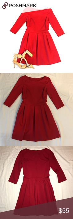 Banana Republic Red Boatneck Dress Worn Once, this dress is fabulous and flirty. Fitted bodice, nipped in waist, feminine flared skirt. 3/4 sleeve, boatneck, invisible zipper, and pockets. Perfect for holidays or date night. In excellent condition. Banana Republic Dresses
