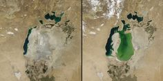 NASA has published these two images of the Aral Sea, which used to be the fourth biggest lake in the world before the Soviet Union plugged into the rivers that fed it to irrigate massive agricultural areas. The photo on the right was taken in 2000. On the left you can see its current state.