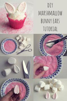 DIY Kaninöron av marshmallows steg-för-steg | HungryHeart.se