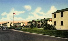 "Birmingham Veterans Administration Hospital - Administration Building and Nurses Quarters, Van Nuys, California. ""The center building immediately behind the flag pole and circle houses only part of the administrative offices of the hospital. About 350 nurses are housed in six other buildings of the type shown here.""  	San Fernando Valley History Digital Library."
