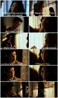 Barry proposing to Iris in song <3 This scene was so perfect. Full of meaning/symbolism, and SO MUCH LOVE! There's a reason Barry and Iris are in my top 5 TV couples of all time (and I've seen a LOT of TV). <3 |TV Shows|CW|#The Flash edit|Season 3|3x17|Duet|Flash/Supergirl musical crossover|Barry Allen|Iris West|#Westallen proposal|Grant Gustin|Candice Patton|#DCTV|Cute proposals|Favorite couples|