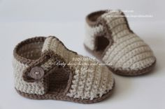 Crochet baby sandals, booties, summer shoes, 6-9 months, tan, brown £12.00 ♡