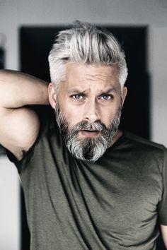 Model swedish grey hair silverfox mens style beard grooming silver male men's apperal men's clothes