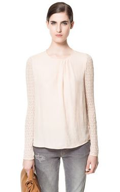 BLOUSE WITH LACE SLEEVES - Woman - New this week - ZARA United States