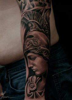 Athena tattoo Aphrodite Tattoo, Athena Tattoo, Zeus Tattoo, Statue Tattoo, Goddess Tattoo, Thigh Piece Tattoos, Forearm Tattoos, Body Art Tattoos, Sleeve Tattoos