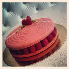 One big birthday macaron :)  #macaron #Soirette #cake #macaroncake #raspberry
