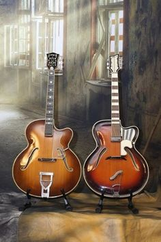 Arch tops... Two European beauties. Hofner Committee and mega rare Goldklang jazz guitars. The best of East and West Germany before the wall came down!