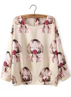 Apricot Long Sleeve Beauty Print Blouse 14.33