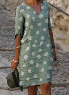 Women's A Line Dresses, Necklines For Dresses, Types Of Dresses, Knee Length Dresses, Shift Dresses, Linen Dresses, Formal Dresses, Dresses With Sleeves, Vestido Casual